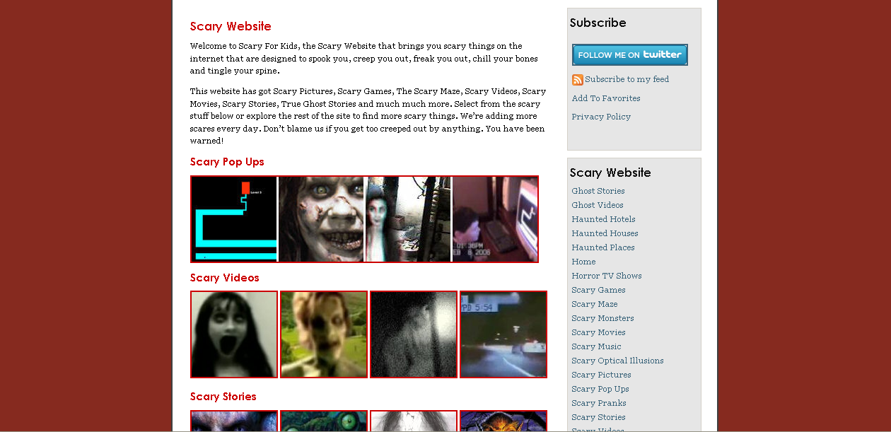 scary for kids homepage